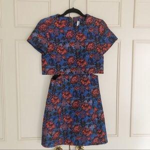 Topshop Crocus Print Tiered Skater Dress